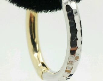 14k Gold Two Tone Diamond Cut Tube Hinged Hoop Earrings 2mmx20mm