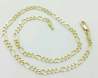 14k Solid Yellow Gold High Polish Figaro Chain Anklet 10""