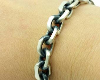 Italian 925 Solid Sterling Silver  Brushed Gun Metal Finish  Mens Cable Bracelet Boyfriend Gift