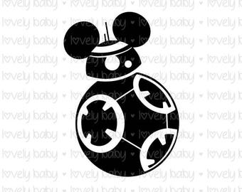 Star Wars Disney 2 BB8 SVG MICKEY, T SHIRT, Cuttable File, dxf, eps, jpg, png, svg, Baby Boy, Cricut, Silhouette, Instant
