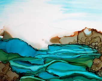 Calm Seascape with Rocks Contemporary Modern Ink Painting Print