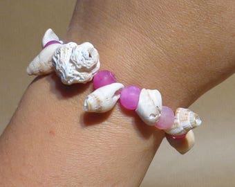 Semi precious stones Agate shells cracked pink bracelet