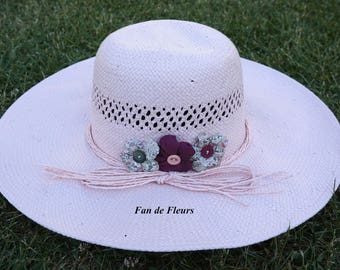 Light pink straw Sun hat with matching fabric flower