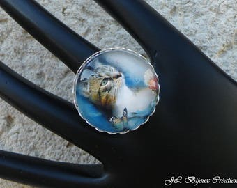 4 cat glass cabochon Adjustable ring