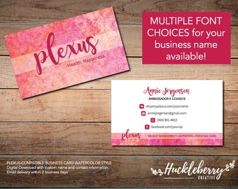 Plexus cards etsy plexus business cards business cards for plexus ambassador watercolor style 35x2 reheart Choice Image
