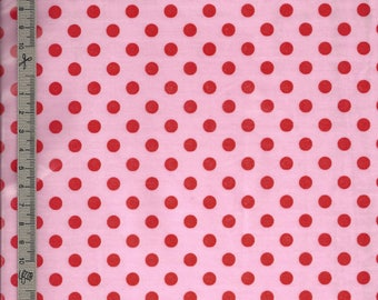 Pink cotton candy red polka dot for creations handmade