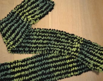 Green and black hand knitted scarf