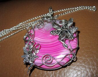 Wire wrapped Agate Fairy necklace