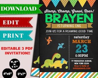 Dinosaur Chalkboard Birthday Invitation, Dinosaur Invitation, Dino Birthday Invites, Editable PDF Invitation Template, PDF Instant Download
