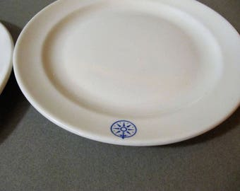 2 Gustavsberg minimalistic vintage plates, with compass picture. Made in Sweden, Scandinavian  design, travel theme