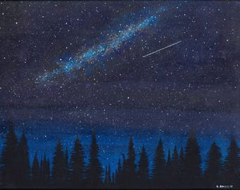 NIGHT SKY PRINT, Glow in the Dark Art Glow Outdoors Art Stars, Shooting star, Nature art, Nature painting, Glow, Galaxy art, Space Art