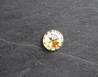 """Clock """"Floral Bouquet"""" 20 mm cabochon glass"""