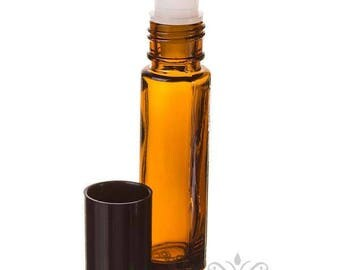 6  AMBER 10 ml -1/3 oz. Glass ROLL ON  Bottles black cap essential oil aromatherapy perfume body fragrance attar oil diy cosmetic lip gloss