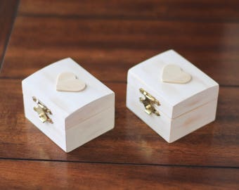His and Her's Vintage Wood Ring Boxes
