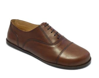 Handmade mens leather shoes/ captoe oxford in polished brown