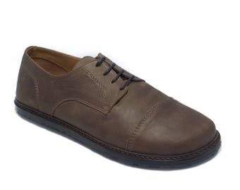 Handmade mens leather shoes/ captoe derby in matte brown