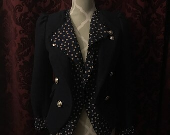 Vintage Wool and polka dot chiffon blazer.
