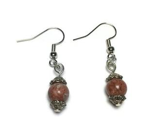 Genuine Red Jasper bead earrings, drop earrings, natural stone, under 10, beaded earrings, teacher gift, christmas gift, gift for her