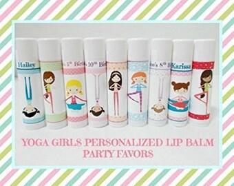 Yoga Girls Lip Balm Party Favors - Yoga Kids Party Favors - Yoga Themed Lip Balm - Free Personalization - Individual - You Select Quantity