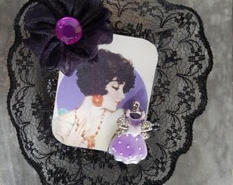 Vintage brooch retro woman profile
