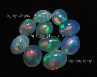 Natural Ethiopian Opal 7x9MM Oval Cabochan Stone - 1 To 10 Pieces - 7x9MM Cabochan Ethiopian Opal Oval Gemstone