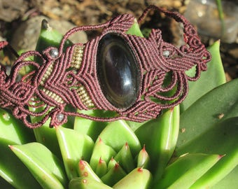 Macrame necklace with obsidian hand made