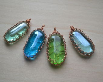 Smooth Glass Cabochon Copper Wire Wrapped Pendant