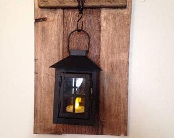 Wood wall decor, wall scone, lantern, candle holder