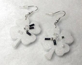 St. Patrick's day clover white earrings