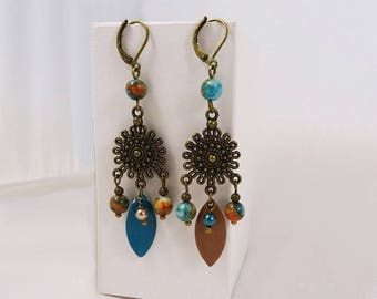 Turquoise brown boho earrings - Bohemian style earrings