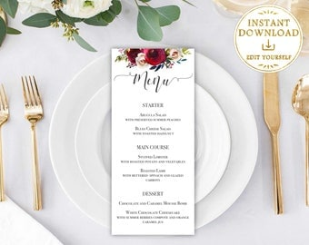 Wedding menu template, Burgundy Flower, Wedding Printable menu, Editable PDF, DIY dinner menu, Party menu template,Dinner menu, Menu card