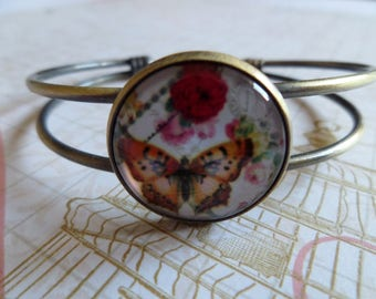 Glass cabochon bracelet * pink butterfly * 20 mm