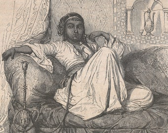 A Woman from Cairo, Egypt 1851 - Old Antique Vintage Engraving Art Print - Woman, Pot, Sofa, Dress, Head, Scarf, Hookah, Cumberbund, Smoking