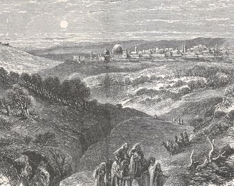 Jerusalem seen from the Stopus, Palestine 1885 - Old Antique Vintage Engraving Art Print - Town, Village, Distant, Buildings, Houses, Dome