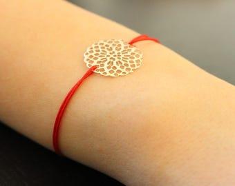Bracelet with silver print sliding knot
