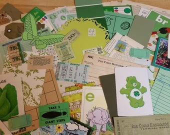 Green Paper Ephemera pack, Collage pack, 65+ pieces paper scrap pack, Paper ephemera lot, paper scraps, junk journal pack, pen pal lot