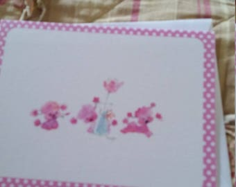 Vintage Greeting Card  ~ Mary Hamilton Pink Lambs Blank Card
