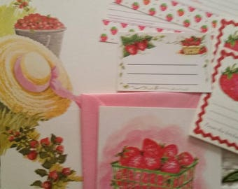 Vintage Recipe Cards Collection ~ 70s Letterettes and Recipe Cards Strawberry Theme 8 Piece Set ~ Cooking Journals ~ Recipe Box