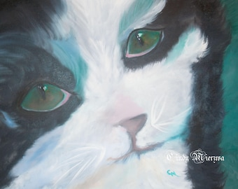 """Tuxedo Cat """"Tux"""" Oil Painting"""