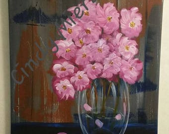 "Acrylic Painting ""My Barn Flowers"