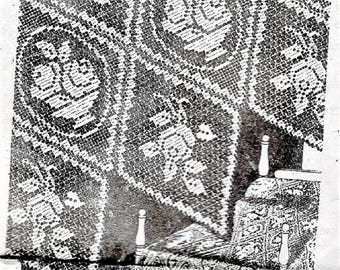 PDF Alice Brooks Filet Crochet Pattern, Baskets and Floral Tablecloth