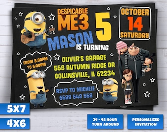 Despicable Me 3 Invitation, Minion Invitations, Minions Birthday, Movie Party, Gru Invites, Dru Invite, Despicable Me Printables, Birthday