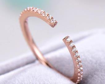 CZ Wedding Band Rose Gold Plated Pave Eternity Sterling Silver Bridal Anniversary Ring Stacking Band Open Stackable Cubic Zircon Diamond