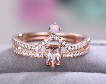 Morganite Opal Engagement Ring Set 925 Sterling Silver Rose Gold Pear Shaped Cut Curved Wedding Band CZ Diamond Chevron Bridal Stacking Gift