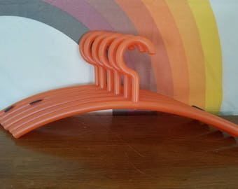 Retro Orange Coat Hangers, Set of 6