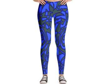 Yoga Leggings - Full Leg Leggings - Exercise Leggings - Festival Leggings - Printed Leggings - Blue Tiki Leggings