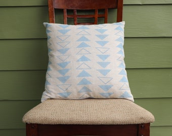 Blue Arrow Pillow Linen Pillow Cover with exposed brass zipper housewarming gift for mother hand sewn block printed pillow cover