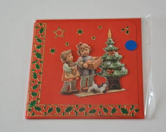 Christmas card with two little girls and their dog gifts
