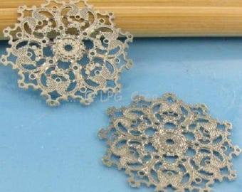 2 stylized prints - Snowflake color metal - diameter 22 mm #A10