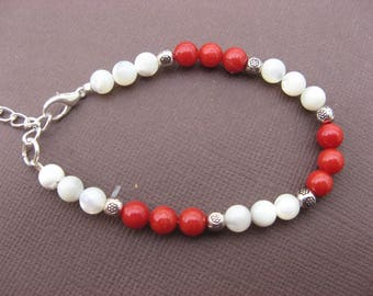 Sea bamboo and White Pearl bracelet